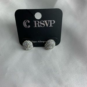 NEW-Charming Charlie silver and diamond earrings